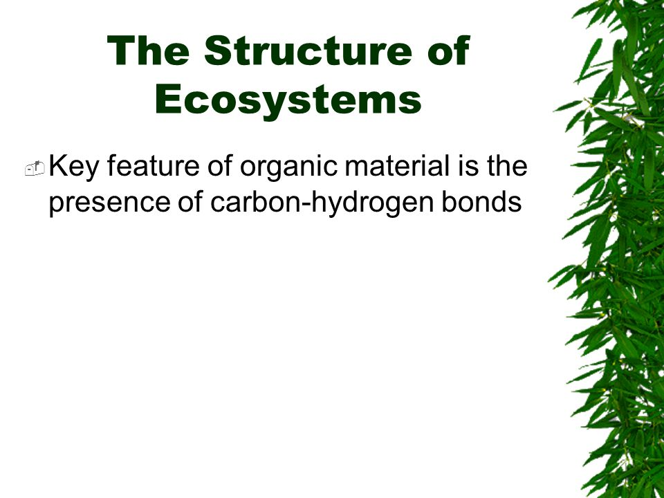 The Structure of Ecosystems  Key feature of organic material is the presence of carbon-hydrogen bonds