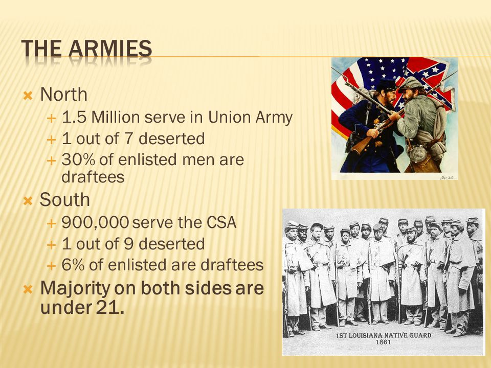  Conscription-the forcing of people into military service- was used to draft soldiers in the Union.