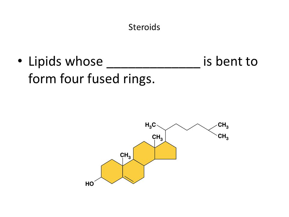 Steroids Lipids whose _____________ is bent to form four fused rings.