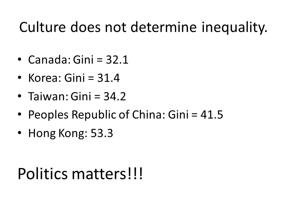 Culture does not determine inequality. Canada: Gini = 32.1 Korea: Gini = 31.4 Taiwan: Gini = 34.2 Peoples Republic of China: Gini = 41.5 Hong Kong: 53