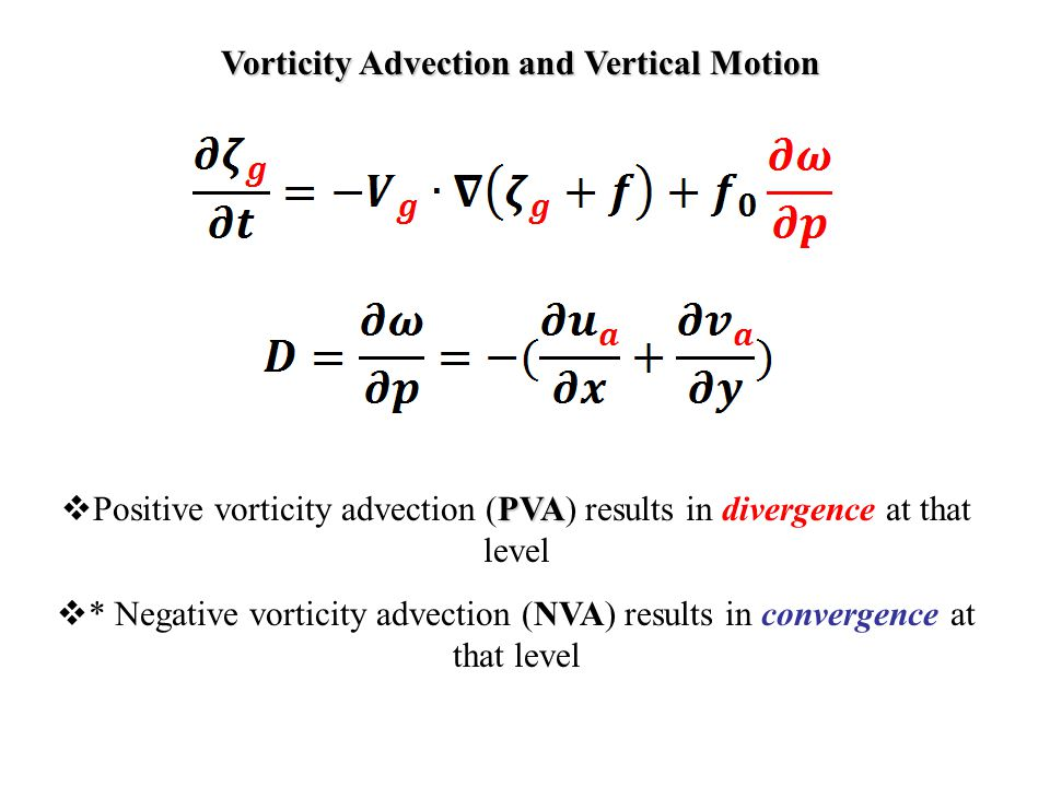 Vorticity Advection and Vertical Motion PVA  Positive vorticity advection (PVA) results in divergence at that level  * Negative vorticity advection