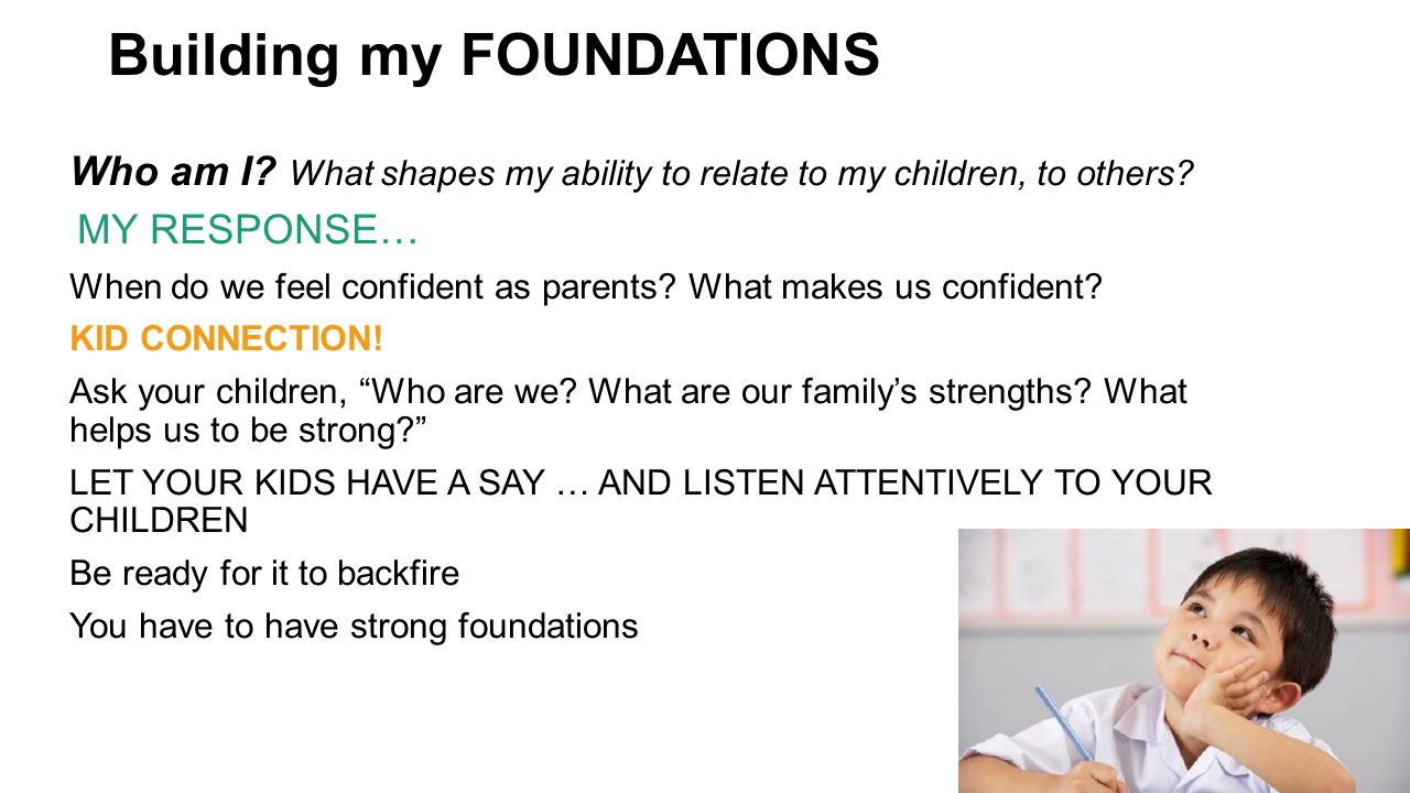 Building my FOUNDATIONS Who am I. What shapes my ability to relate to my children, to others.