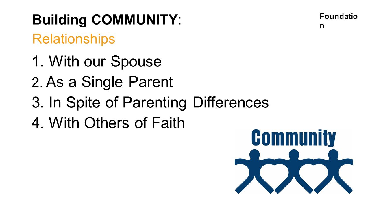 Building COMMUNITY: Relationships 1. With our Spouse 2.