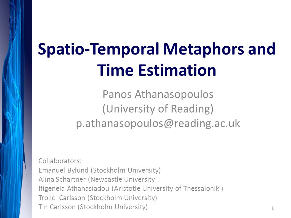 Different types of spatio-temporal metaphors are used to talk about duration: English: Waiting for a long time long night long party Greek: perimeno poli ('much') ora megali ('big') nychta parti pou kratise poly ['party that lasted much'] Distance (Germanic languages); Quantity (Spanish, Greek) Talking about time… Duration = Distance Duration = Quantity 12