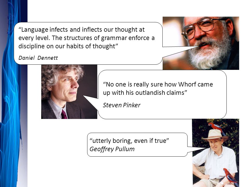 """""""No one is really sure how Whorf came up with his outlandish claims"""" Steven Pinker """"utterly boring, even if true"""" Geoffrey Pullum """"Language infects an"""