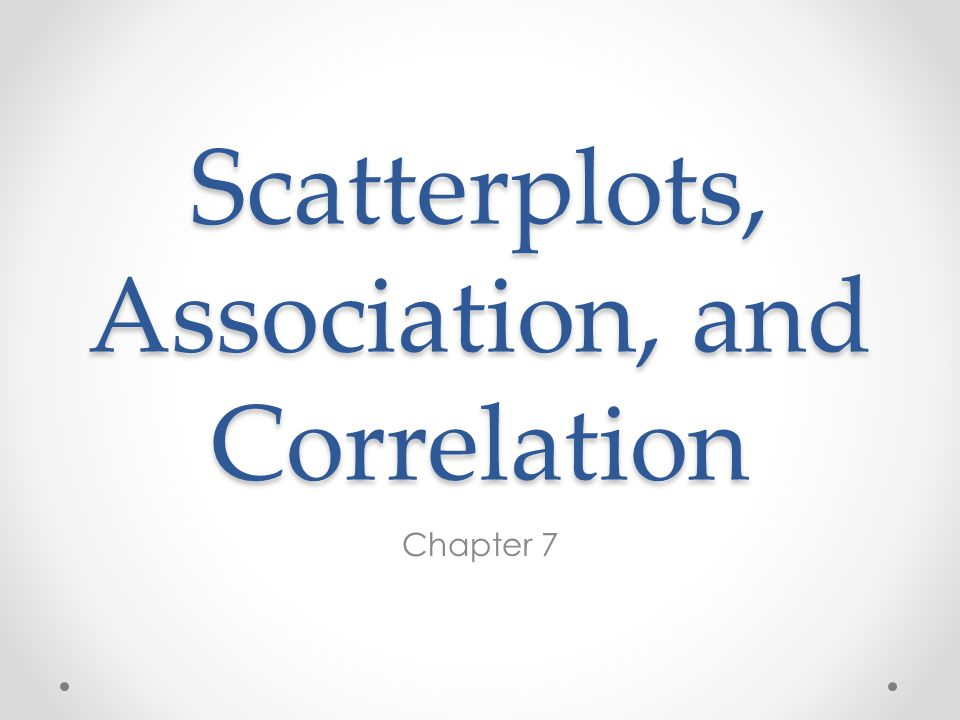 Scatterplots, Association, and Correlation Chapter 7