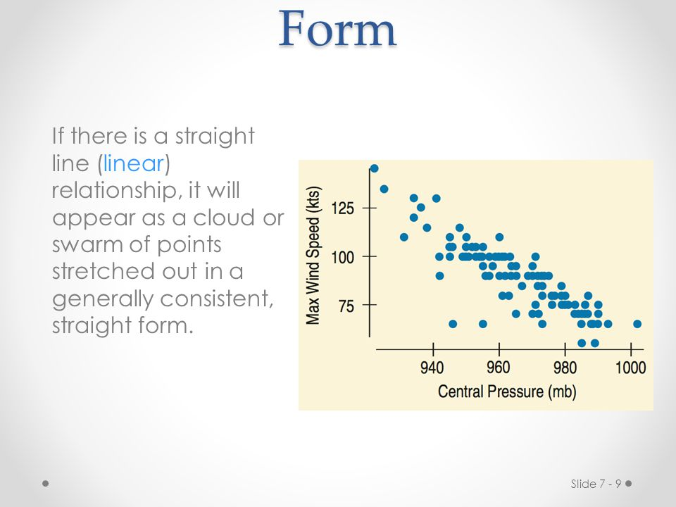 Slide 7 - 9Form If there is a straight line (linear) relationship, it will appear as a cloud or swarm of points stretched out in a generally consistent, straight form.