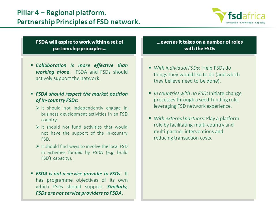  Collaboration is more effective than working alone: FSDA and FSDs should actively support the network.  FSDA should respect the market position of