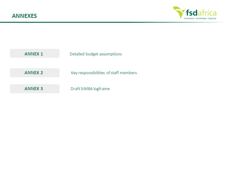 ANNEXES ANNEX 1 Detailed budget assumptions ANNEX 2 Key responsibilities of staff members ANNEX 3 Draft SIMBA logframe