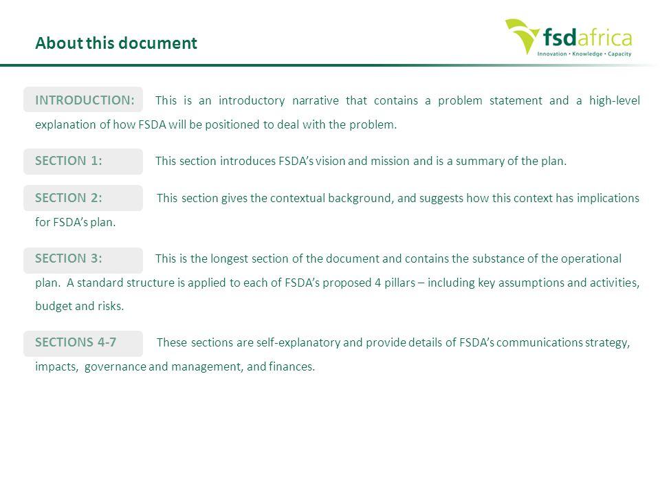 INTRODUCTION: This is an introductory narrative that contains a problem statement and a high-level explanation of how FSDA will be positioned to deal