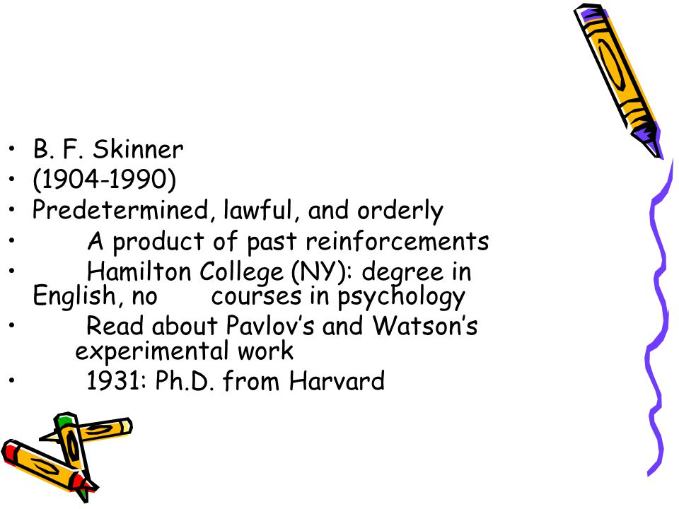 B. F. Skinner (1904-1990) Predetermined, lawful, and orderly A product of past reinforcements Hamilton College (NY): degree in English, no courses in
