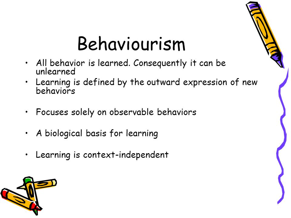 Behaviourism All behavior is learned.