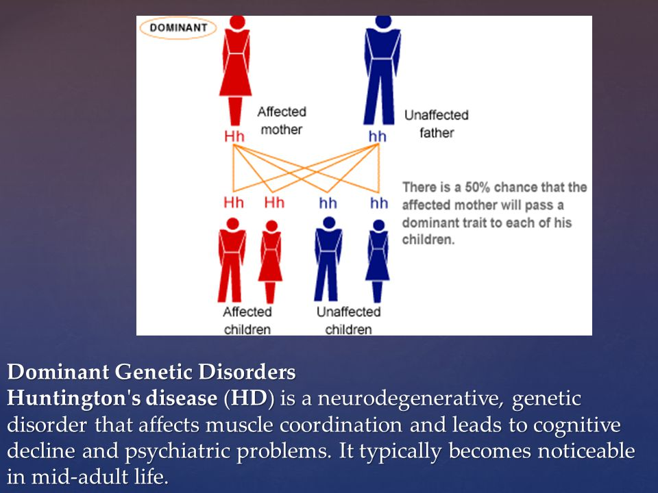 Dominant Genetic Disorders Huntington s disease (HD) is a neurodegenerative, genetic disorder that affects muscle coordination and leads to cognitive decline and psychiatric problems.