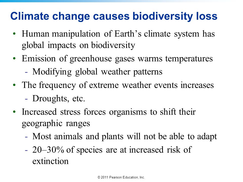 © 2011 Pearson Education, Inc. Climate change causes biodiversity loss Human manipulation of Earth's climate system has global impacts on biodiversity
