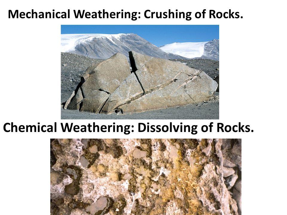 Mechanical Weathering: Crushing of Rocks. Chemical Weathering: Dissolving of Rocks.