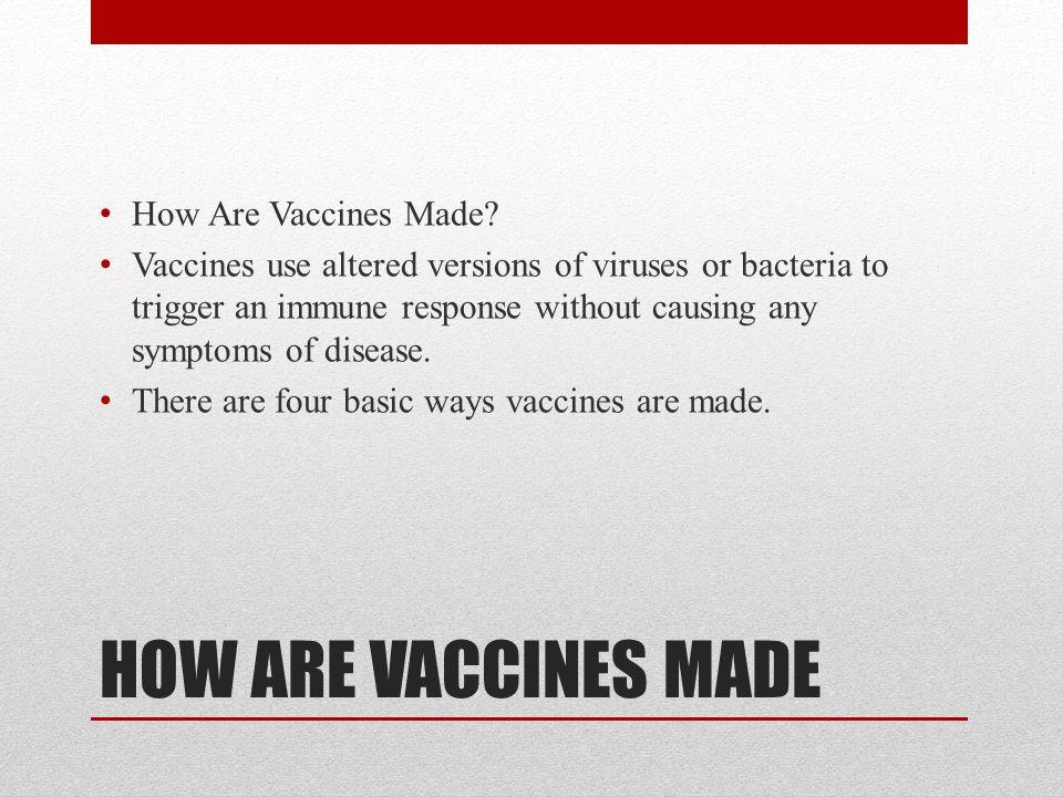 HOW ARE VACCINES MADE How Are Vaccines Made.