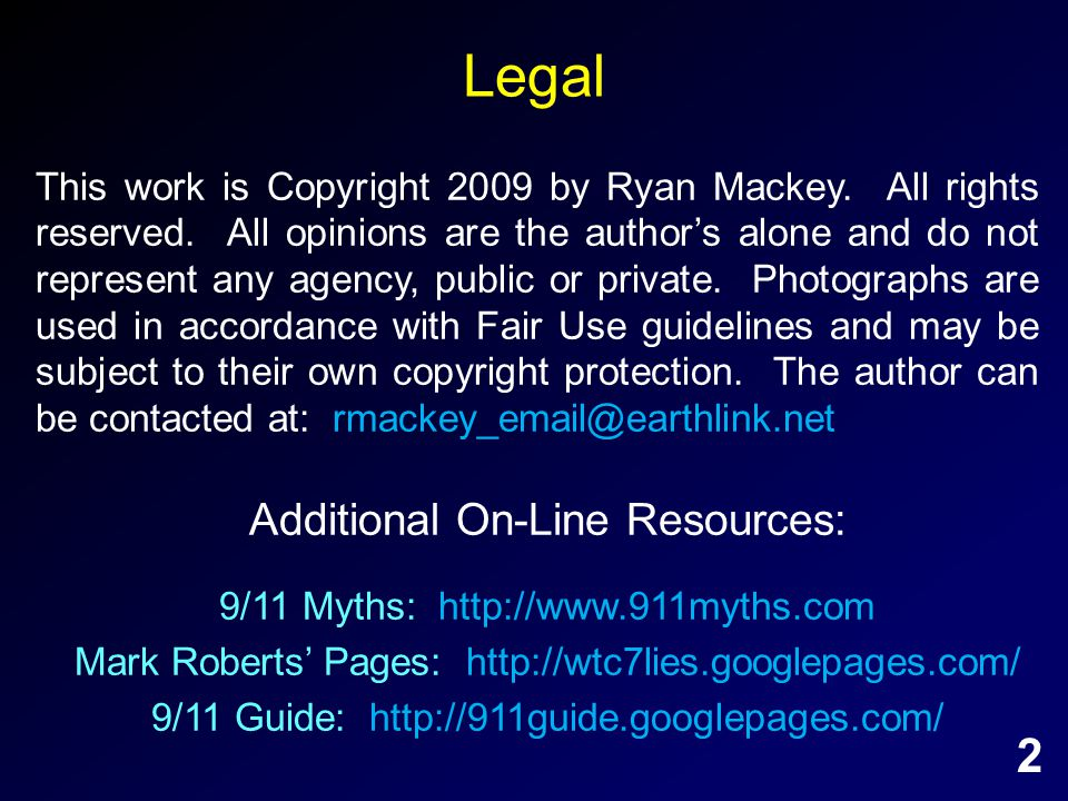 Legal This work is Copyright 2009 by Ryan Mackey. All rights reserved.