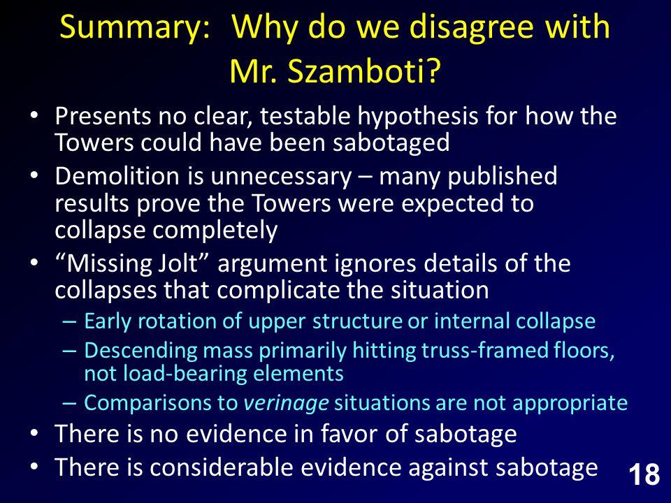 Summary: Why do we disagree with Mr. Szamboti.