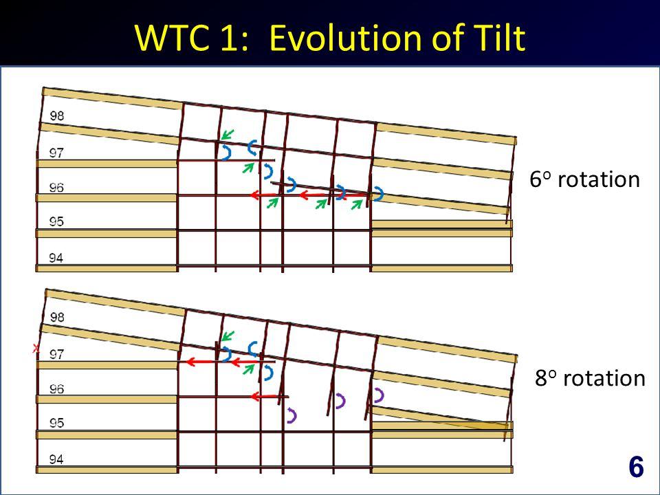 WTC 1: Evolution of Tilt 6 o rotation 8 o rotation 6