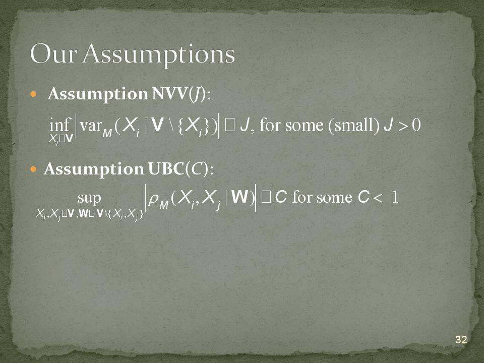 Assumption NVV(J): Assumption UBC(C): 32