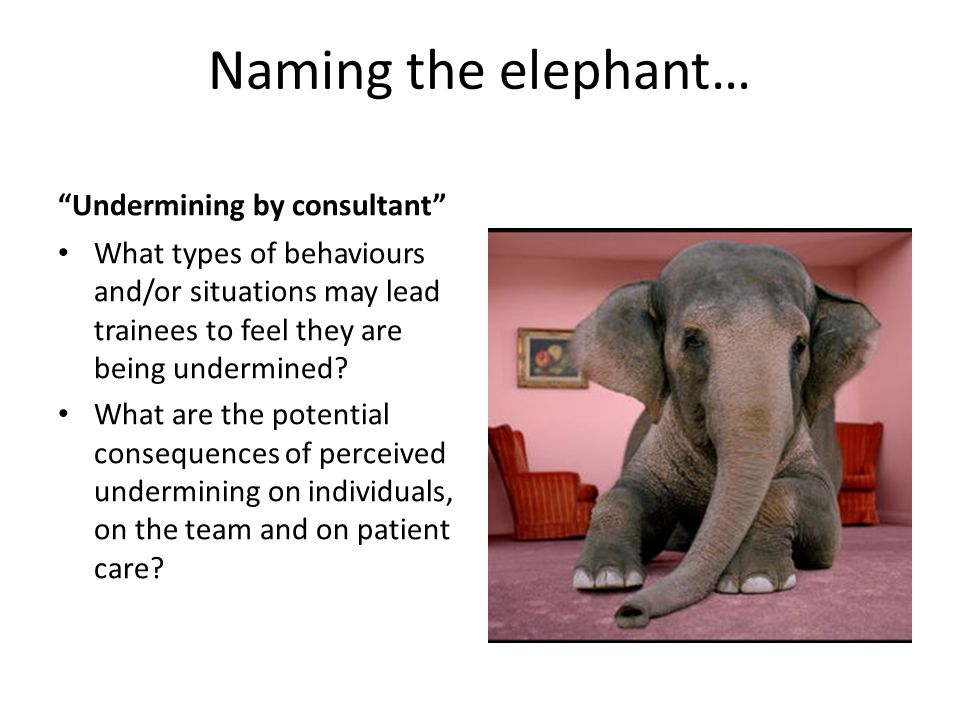 Naming the elephant… Undermining by consultant What types of behaviours and/or situations may lead trainees to feel they are being undermined.