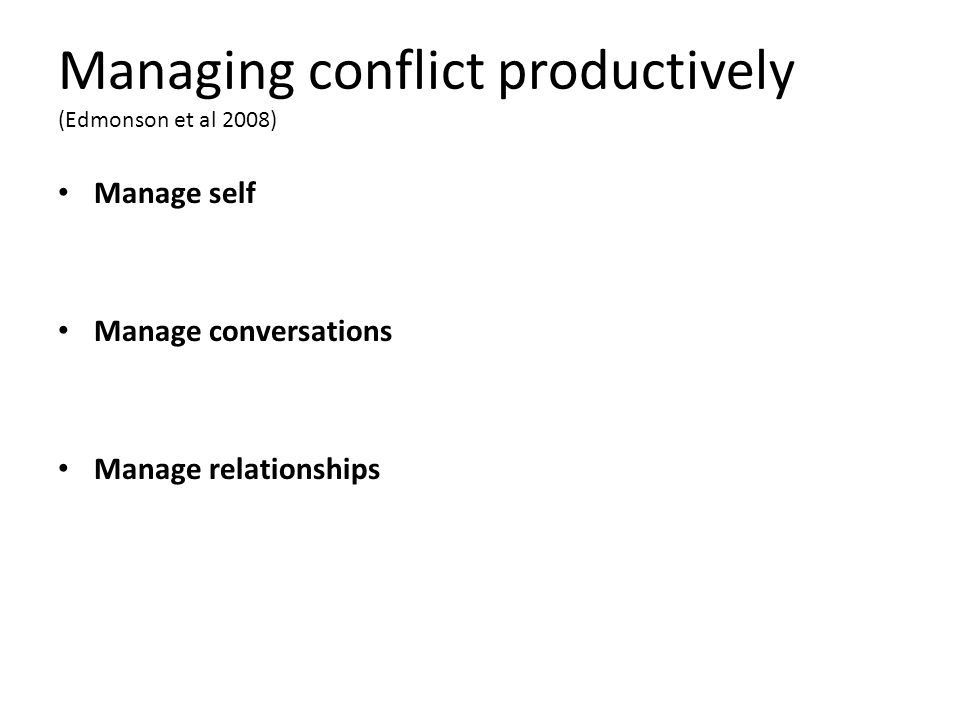 Managing conflict productively (Edmonson et al 2008) Manage self Manage conversations Manage relationships