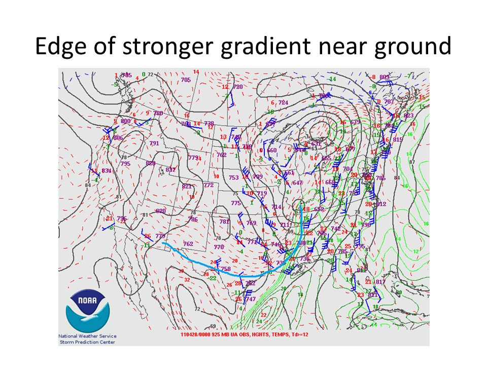 Edge of stronger gradient near ground