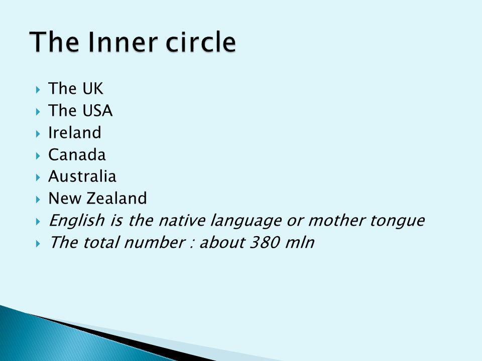  The UK  The USA  Ireland  Canada  Australia  New Zealand  English is the native language or mother tongue  The total number : about 380 mln