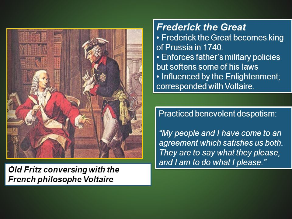 Practiced benevolent despotism: My people and I have come to an agreement which satisfies us both.