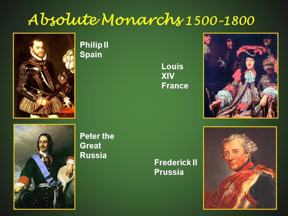 Absolute Monarchs 1500–1800 Philip II Spain Louis XIV France Peter the Great Russia Frederick II Prussia