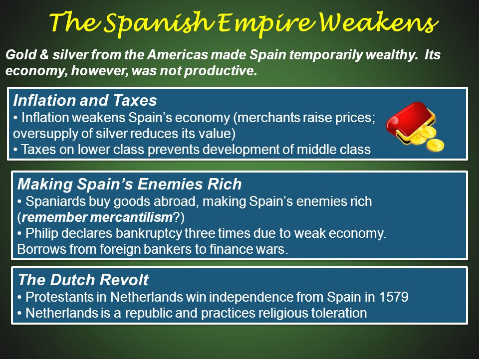 Making Spain's Enemies Rich Spaniards buy goods abroad, making Spain's enemies rich (remember mercantilism?) Philip declares bankruptcy three times du