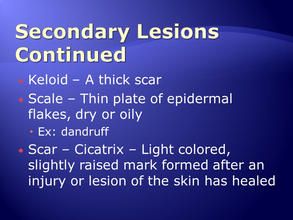  Keloid – A thick scar  Scale – Thin plate of epidermal flakes, dry or oily  Ex: dandruff  Scar – Cicatrix – Light colored, slightly raised mark f