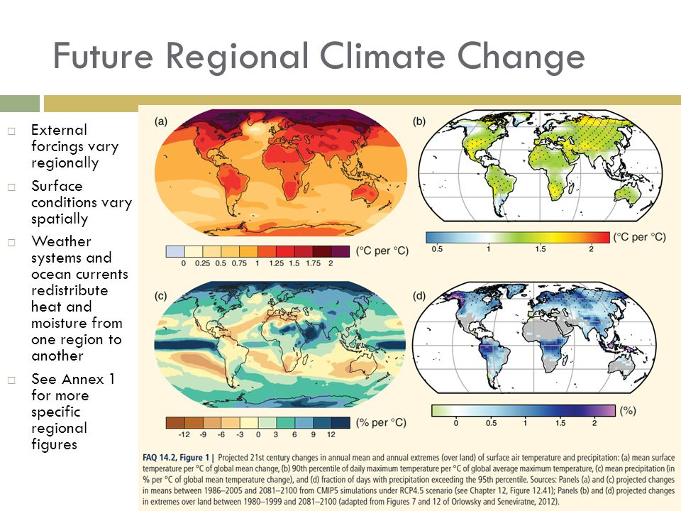 Future Regional Climate Change  External forcings vary regionally  Surface conditions vary spatially  Weather systems and ocean currents redistribute heat and moisture from one region to another  See Annex 1 for more specific regional figures