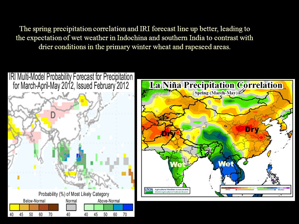 The spring precipitation correlation and IRI forecast line up better, leading to the expectation of wet weather in Indochina and southern India to con