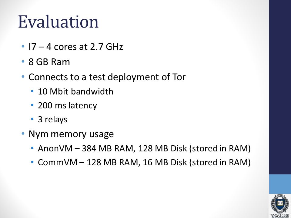 Evaluation I7 – 4 cores at 2.7 GHz 8 GB Ram Connects to a test deployment of Tor 10 Mbit bandwidth 200 ms latency 3 relays Nym memory usage AnonVM – 384 MB RAM, 128 MB Disk (stored in RAM) CommVM – 128 MB RAM, 16 MB Disk (stored in RAM)