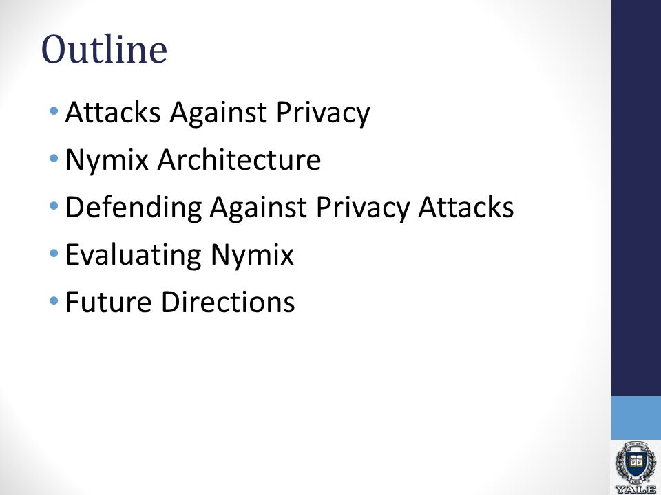 Outline Attacks Against Privacy Nymix Architecture Defending Against Privacy Attacks Evaluating Nymix Future Directions