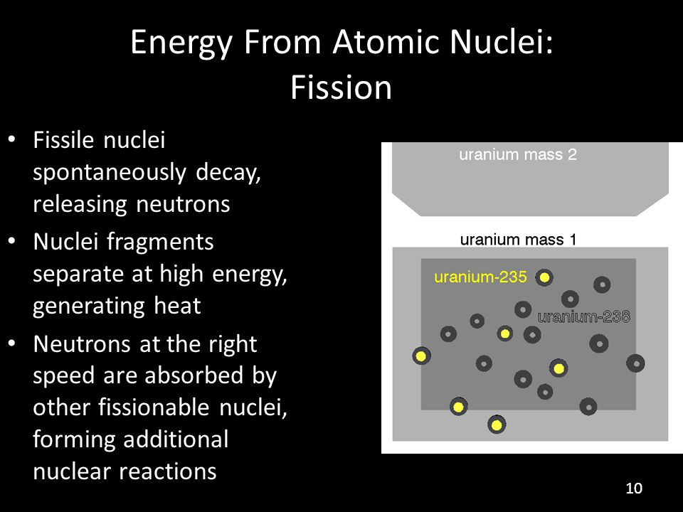 Energy From Atomic Nuclei: Fission Fissile nuclei spontaneously decay, releasing neutrons Nuclei fragments separate at high energy, generating heat Neutrons at the right speed are absorbed by other fissionable nuclei, forming additional nuclear reactions 10