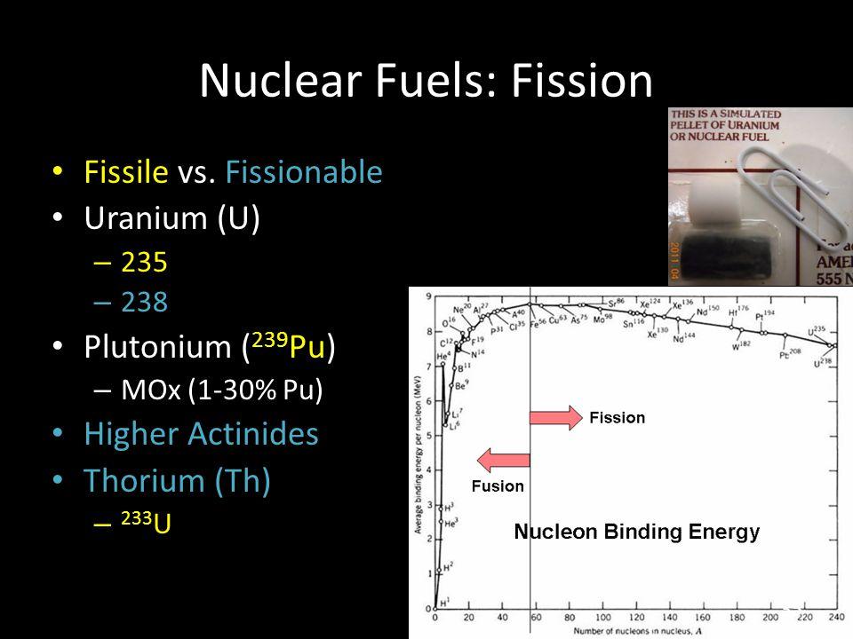 Nuclear Fuels: Fission Fissile vs. Fissionable Uranium (U) – 235 – 238 Plutonium ( 239 Pu) – MOx (1-30% Pu) Higher Actinides Thorium (Th) – 233 U 35