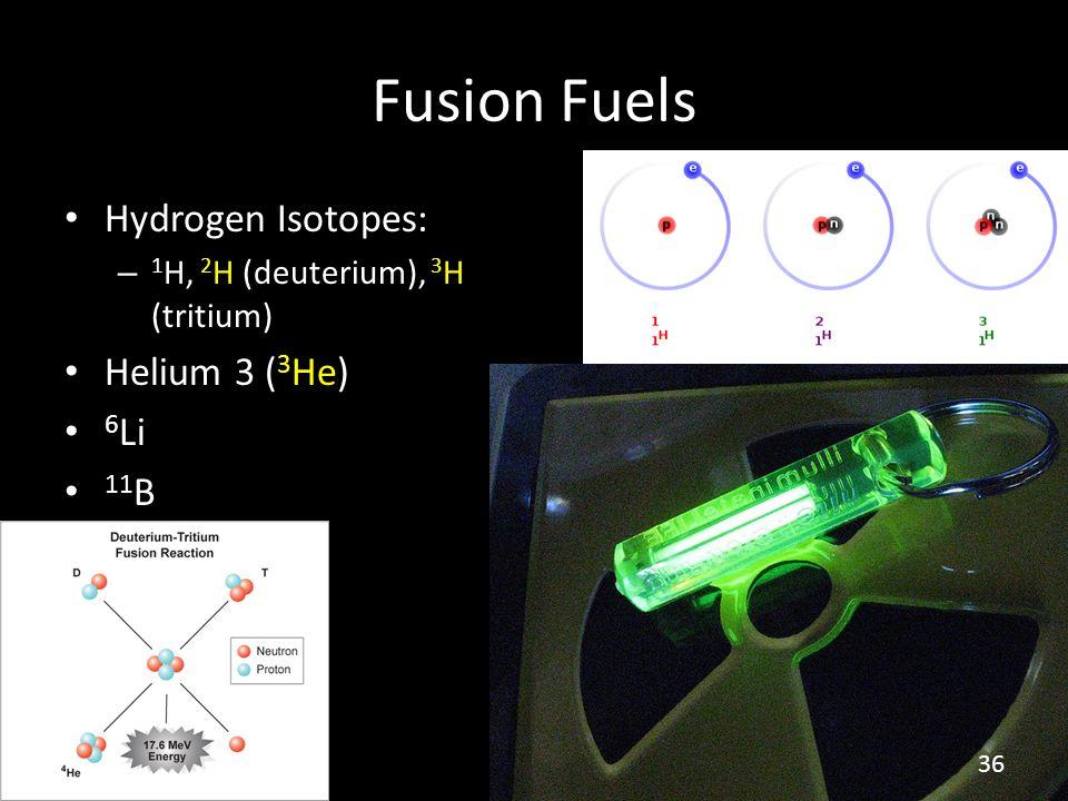 Fusion Fuels Hydrogen Isotopes: – 1 H, 2 H (deuterium), 3 H (tritium) Helium 3 ( 3 He) 6 Li 11 B 36