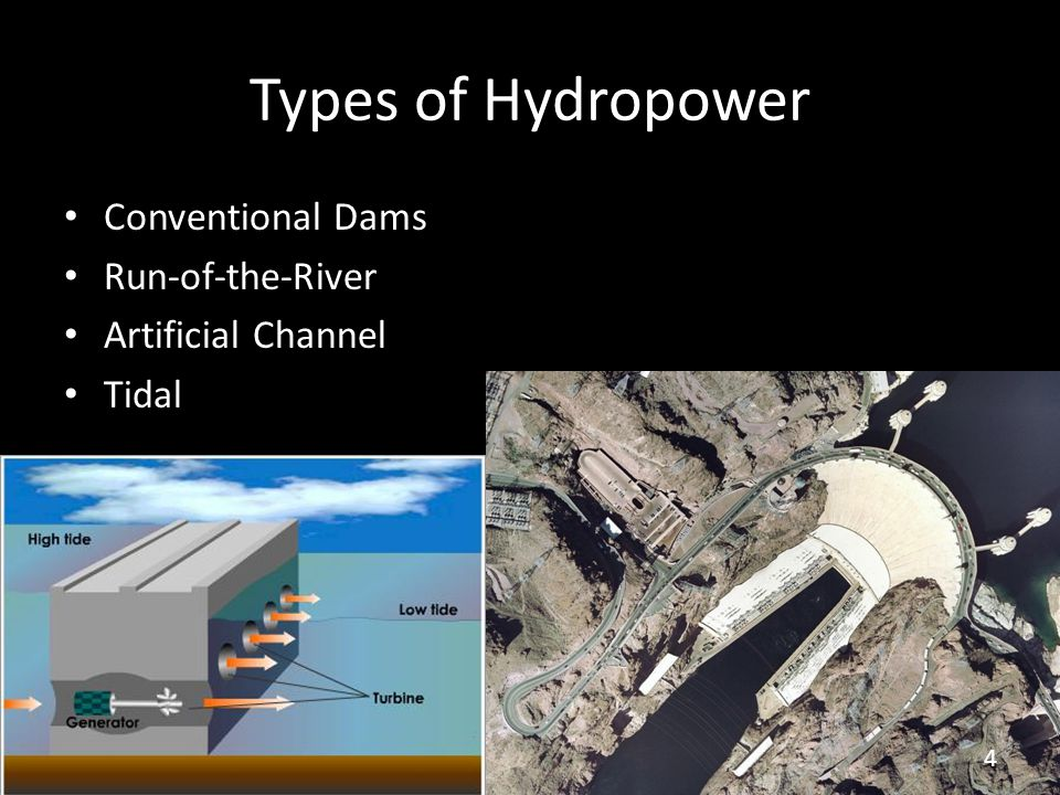 Types of Hydropower Conventional Dams Run-of-the-River Artificial Channel Tidal 4