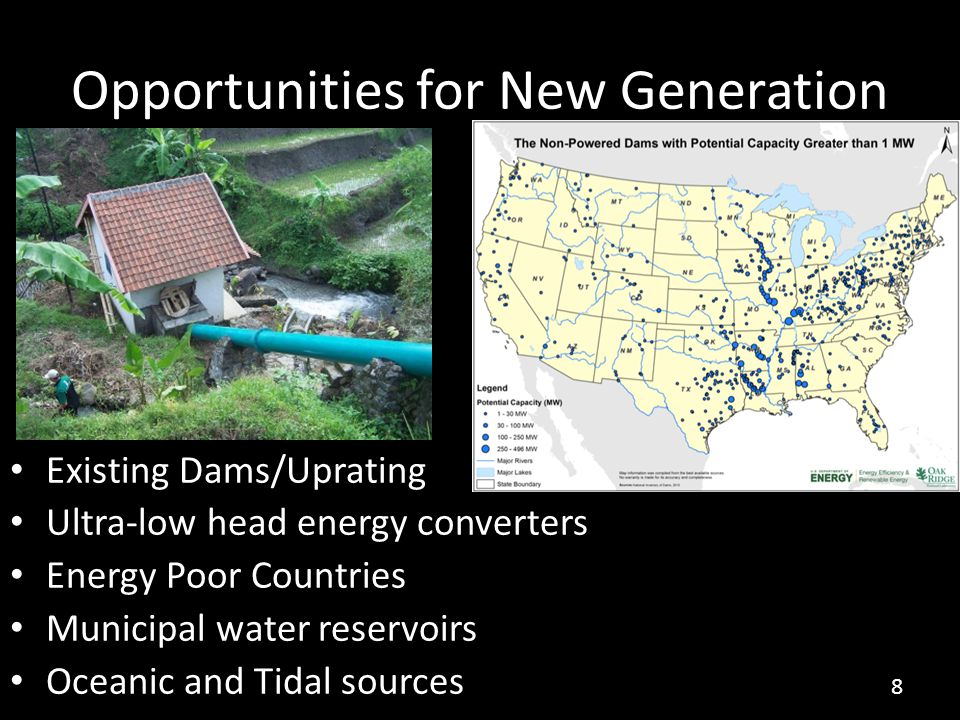 Opportunities for New Generation Existing Dams/Uprating Ultra-low head energy converters Energy Poor Countries Municipal water reservoirs Oceanic and