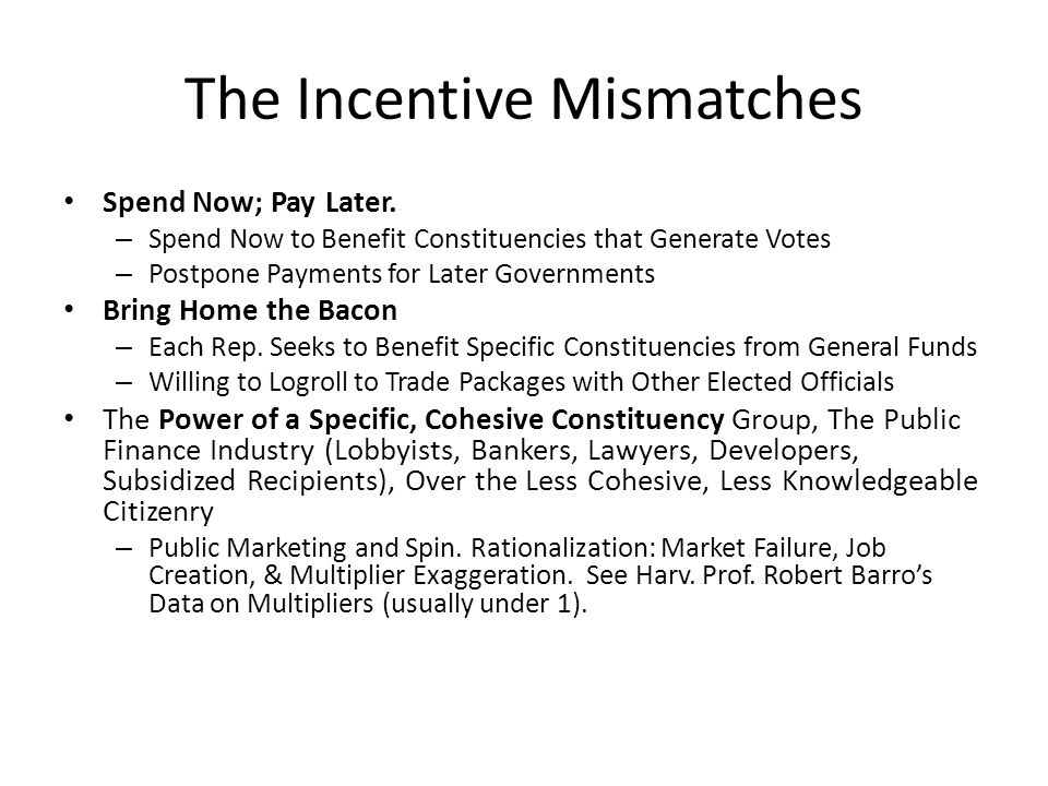 The Incentive Mismatches Spend Now; Pay Later.