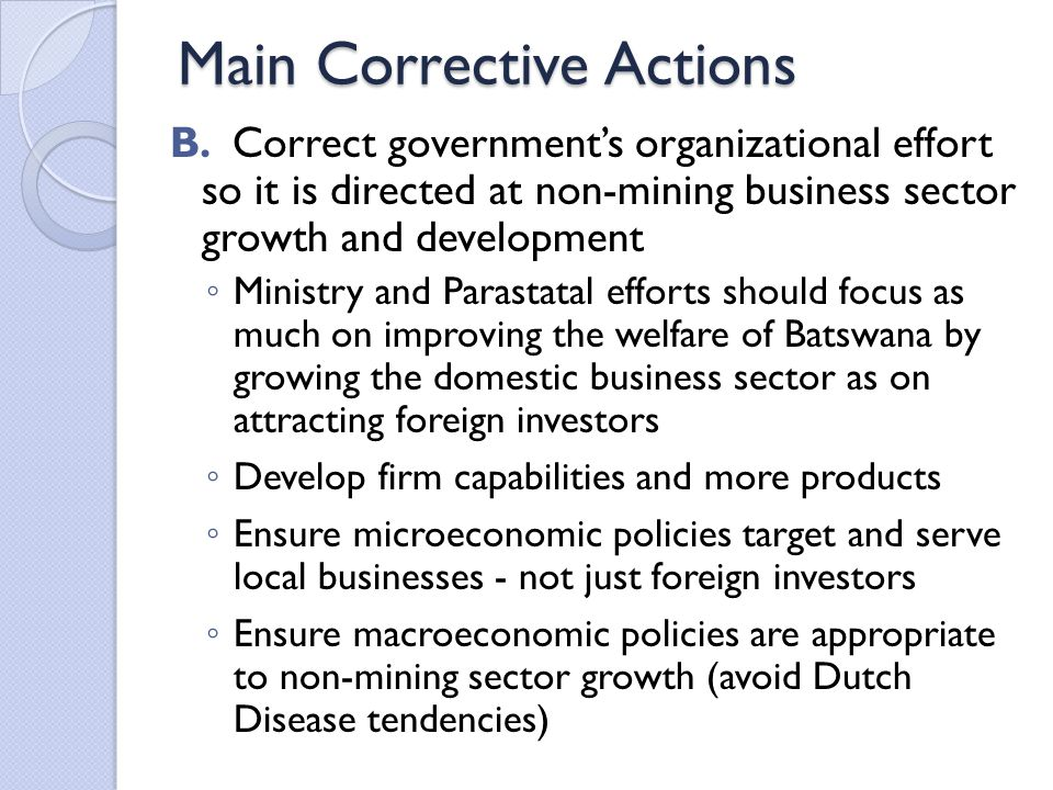 Main Corrective Actions B.