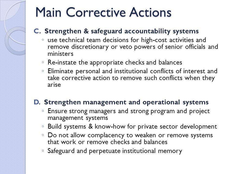Main Corrective Actions C.