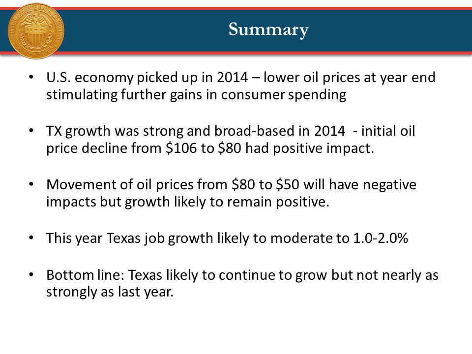 U.S. economy picked up in 2014 – lower oil prices at year end stimulating further gains in consumer spending TX growth was strong and broad-based in 2