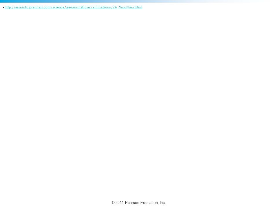 © 2011 Pearson Education, Inc. http://esminfo.prenhall.com/science/geoanimations/animations/26_NinoNina.html