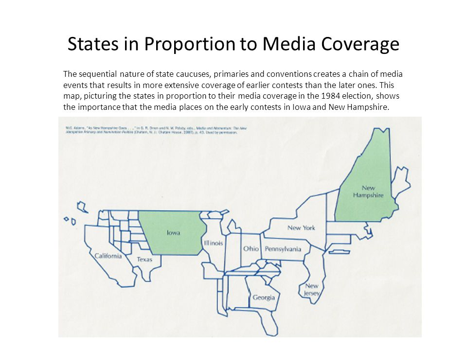 States in Proportion to Media Coverage The sequential nature of state caucuses, primaries and conventions creates a chain of media events that results in more extensive coverage of earlier contests than the later ones.