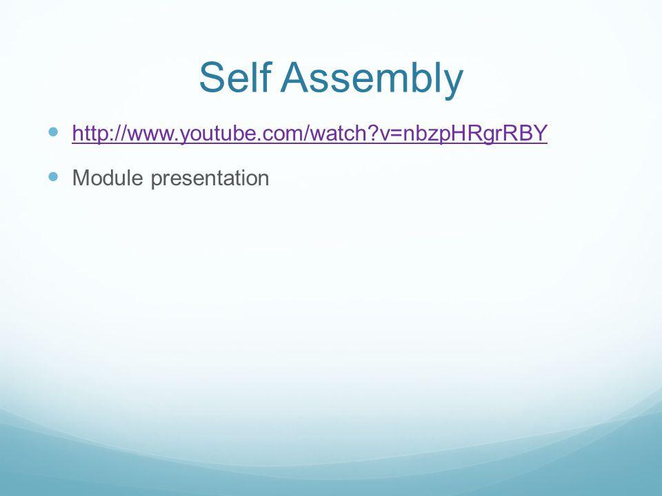 Self Assembly http://www.youtube.com/watch v=nbzpHRgrRBY Module presentation
