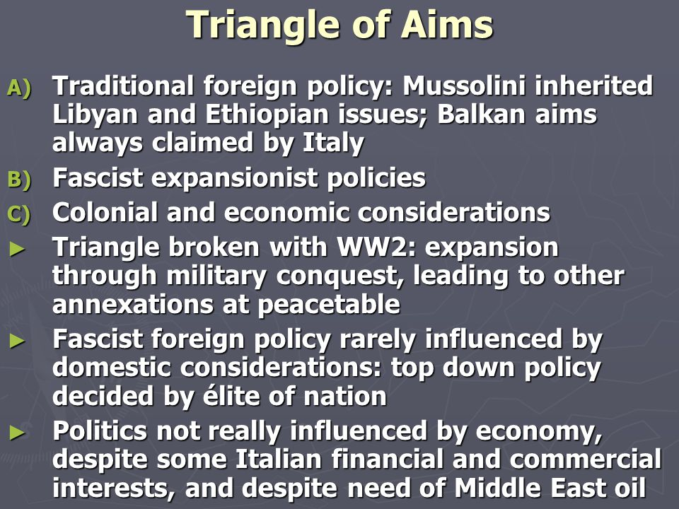 Anglo-Saxon Historiography ► Territorial Expansion and Ideology: Italian Lebensraum in Mediterranean and Middle East ► Mussolini aimed at making up a real Empire, stretching from East Africa and Red Sea, through North Africa up to the Balkans: in order to achieve this, Italy had to confront democracies ► Myth of Rome and social Darwinism