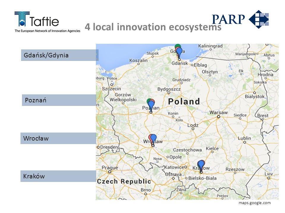 4 local innovation ecosystems Gdańsk/Gdynia Poznań Wrocław Kraków maps.google.com